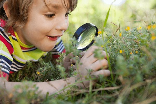 Enfant regarde nature avec loupe